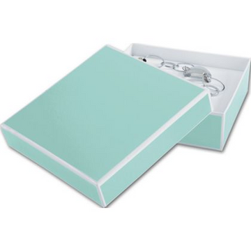 Aqua Small Square Box With White Trim