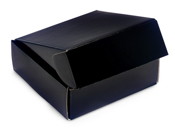 Solid Black Square Box With Fold Over Lid