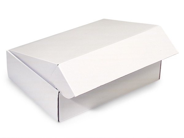 Solid White Square Box With Fold Over Lid