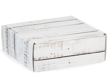 Distressed Wood Square Box With Fold Over Lid