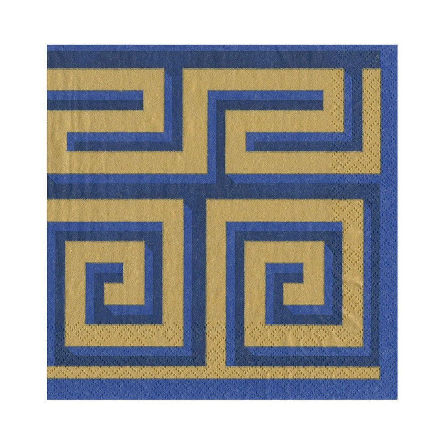 Printed Cocktail Napkins Blue / Gold 20 ct