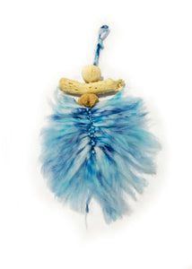 Blue Macrame Feather Wallhanger