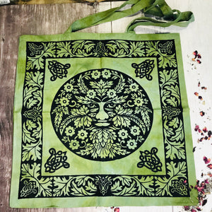 Green Man Cotton Tote Bag Black And Green
