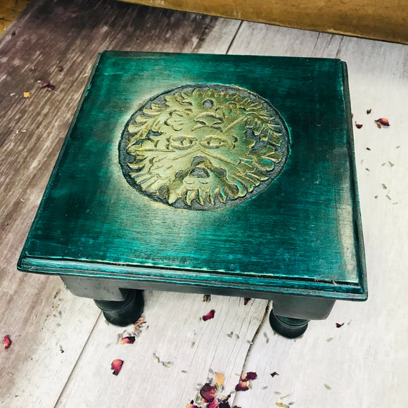 Green Man Wooden Carved Altar Table/Stand