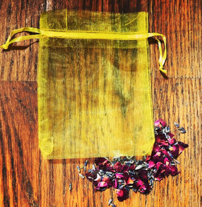 Yellow Organza Bag Ideal For Crystals