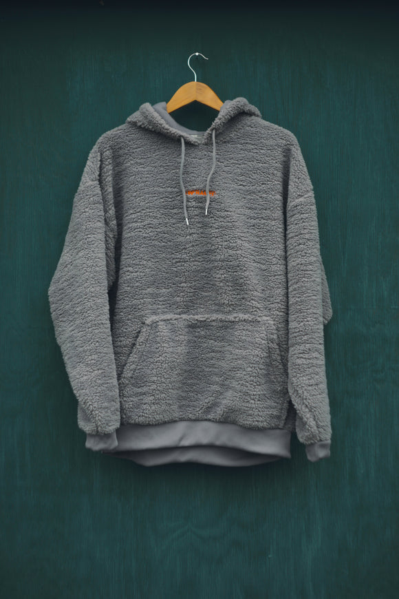 ORANGE ON GREY SHERPA HOODIE