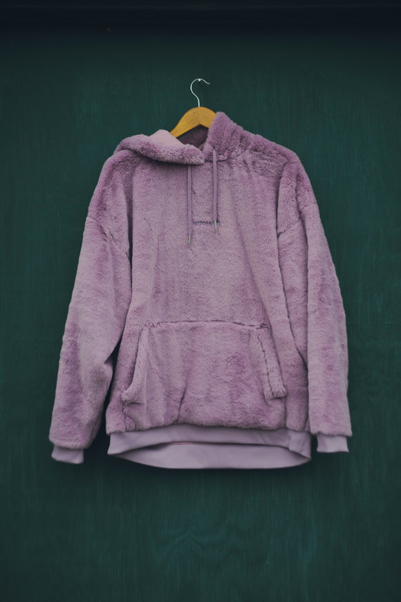 WHITE ON PURPLE HOODIE FUZZY