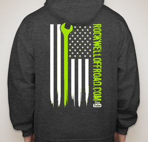 Rockwell Offroad Dark Heather Hoodie with Lime Green American Flag