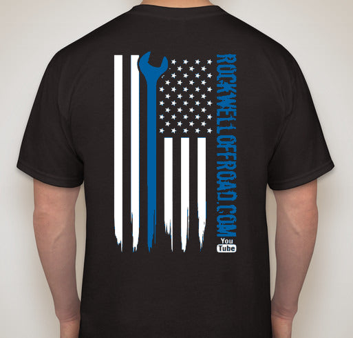 Rockwell Offroad Black T-Shirts with Blue American Flag