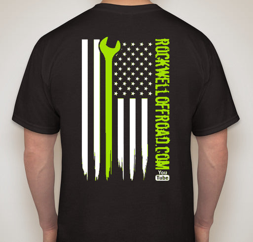 Rockwell Offroad Black T-Shirts with Bright Green American Flag