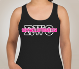 "Rockwell Offroad Ladies Racerback Tank - Black with White ""RWO"" and Hot Pink ""Rockwelloffroad.com"""