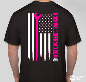 Rockwell Offroad Black T-Shirts with Hot PInk American Flag