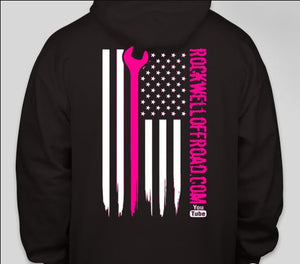 Rockwell Offroad Black Hoodie with Hot Pink American Flag