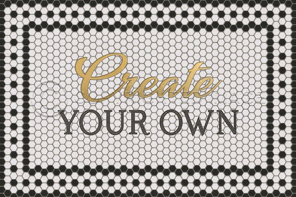 Mosaic Customized Vinyl Floorcloth- White with Gold Script