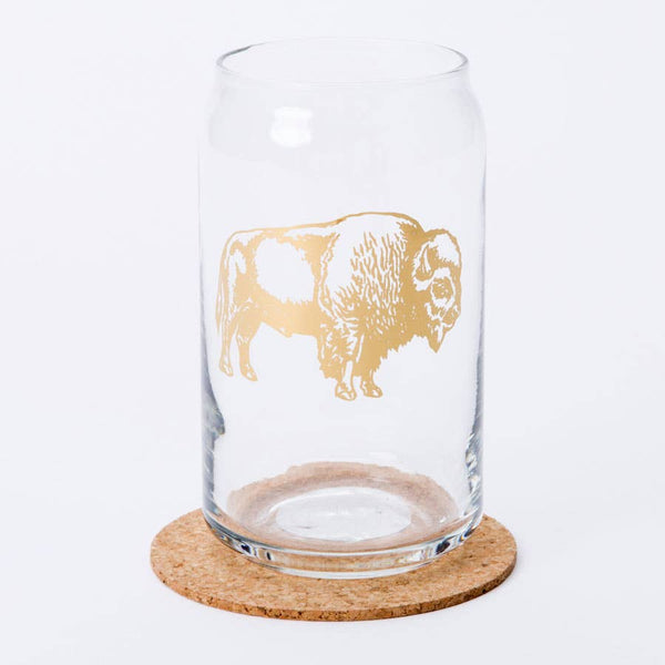 Bison Beer Can Glass