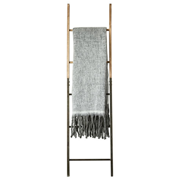 Grey Mohair Throw with Fringe