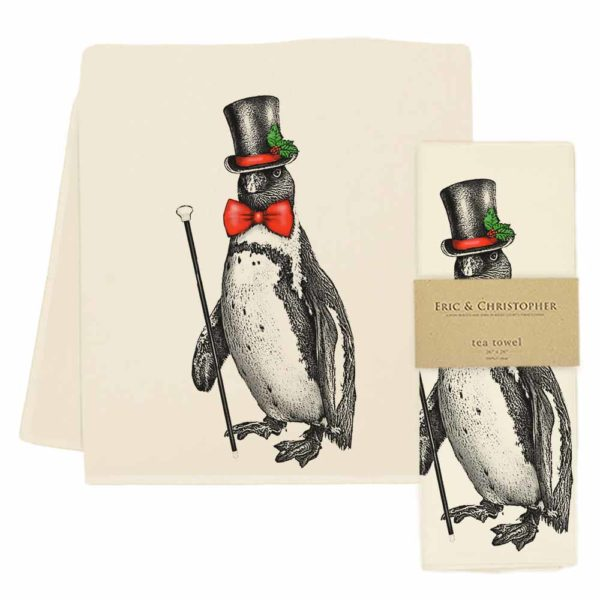 Top Hat Penguin Tea Towel