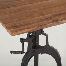 Load image into Gallery viewer, Adjustable Height Dining Table Industrial Crank Teak Bar Pub Table Teak
