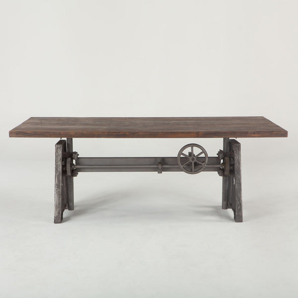 Adjustable Height Dining Table Industrial Crank Teak Bar Pub Table