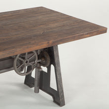 Load image into Gallery viewer, Adjustable Height Dining Table Industrial Crank Teak Bar Pub Table