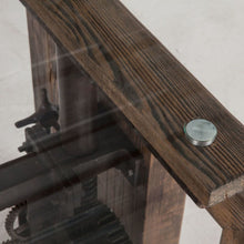 Load image into Gallery viewer, Steampunk Adjustable Glass-Top Dining Table