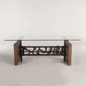 Steampunk Adjustable Glass-Top Dining Table