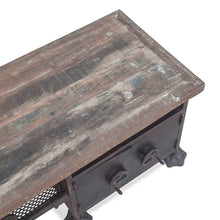 Load image into Gallery viewer, Steampunk Media Cabinet Industrial Bench Entryway Low Sideboard