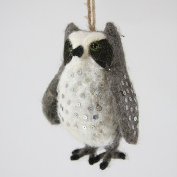 Felt Horned Owl Ornament