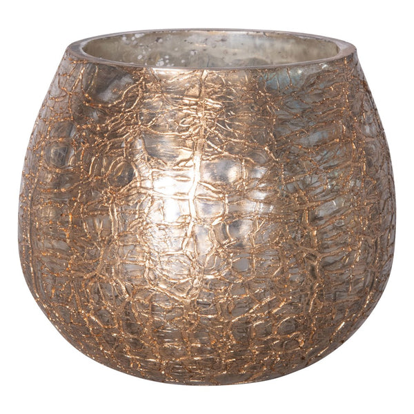 Gold Crackle Tea Light Holder