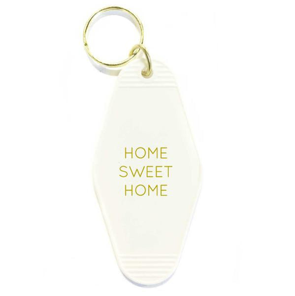 Home Sweet Home Key Tag- White/Gold