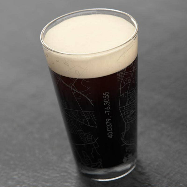 Lancaster Map Pint Glass