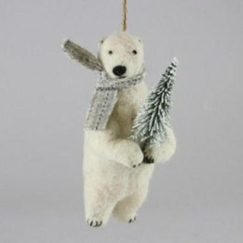 Felt Polar Bear Holding Tree Ornament