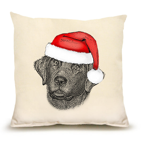 Santa Black Lab Pillow