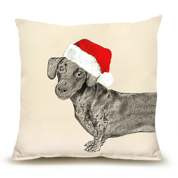 Santa Dachshund Pillow