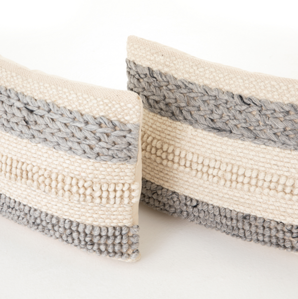 Textured Stripe Lumbar Pillow