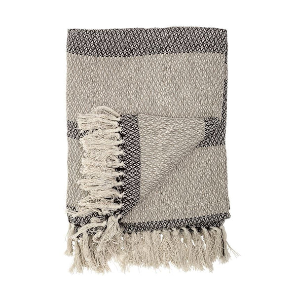 Cotton Blend Grey Stripe Throw