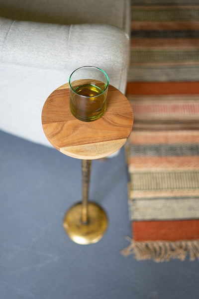 Acacia Wood and Brass Cocktail Table