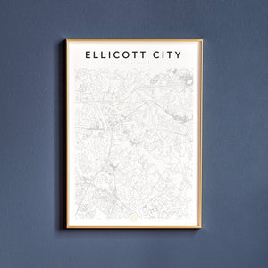 Ellicott City Map Print