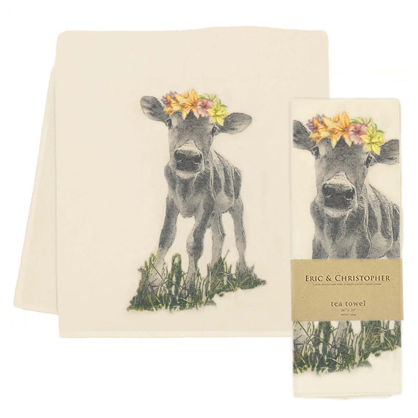 Flower Crown Baby Cow Tea Towel