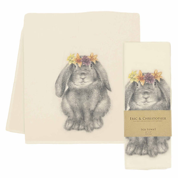 Flower Crown Bunny Tea Towel