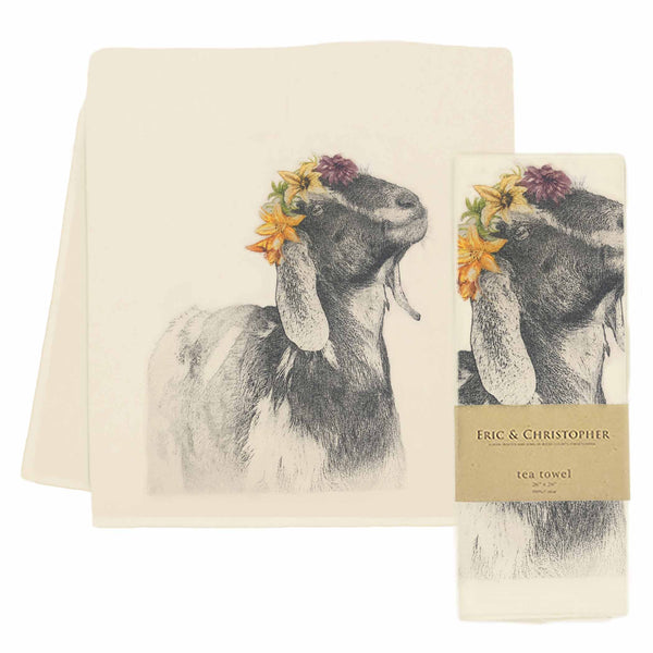 Flower Crown Goat Tea Towel