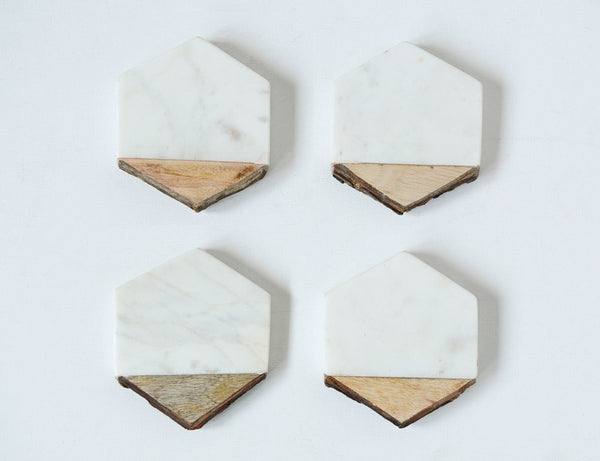Hexagon Marble + Bark Coasters