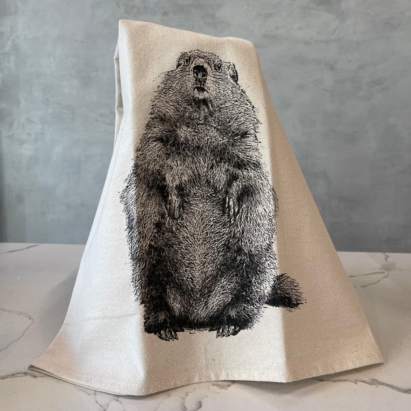 """Poppy"" the Groundhog Tea Towel - Second Edition"