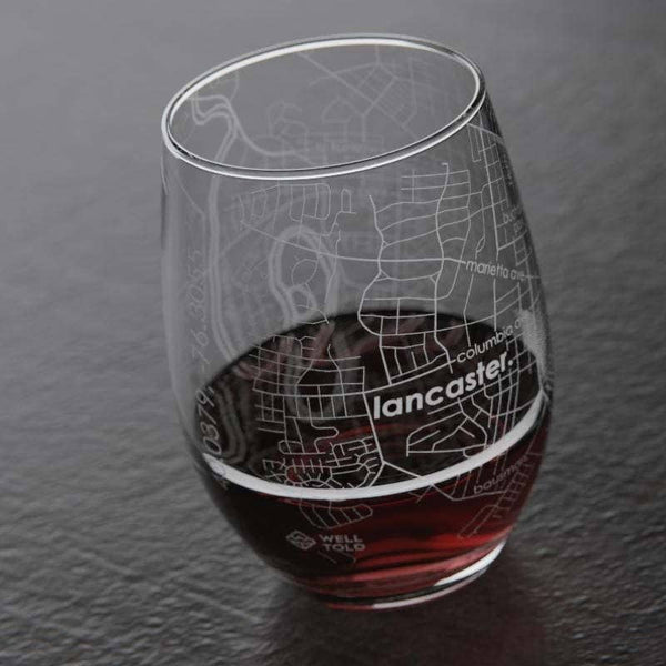 Lancaster Map Stemless Wine Glass