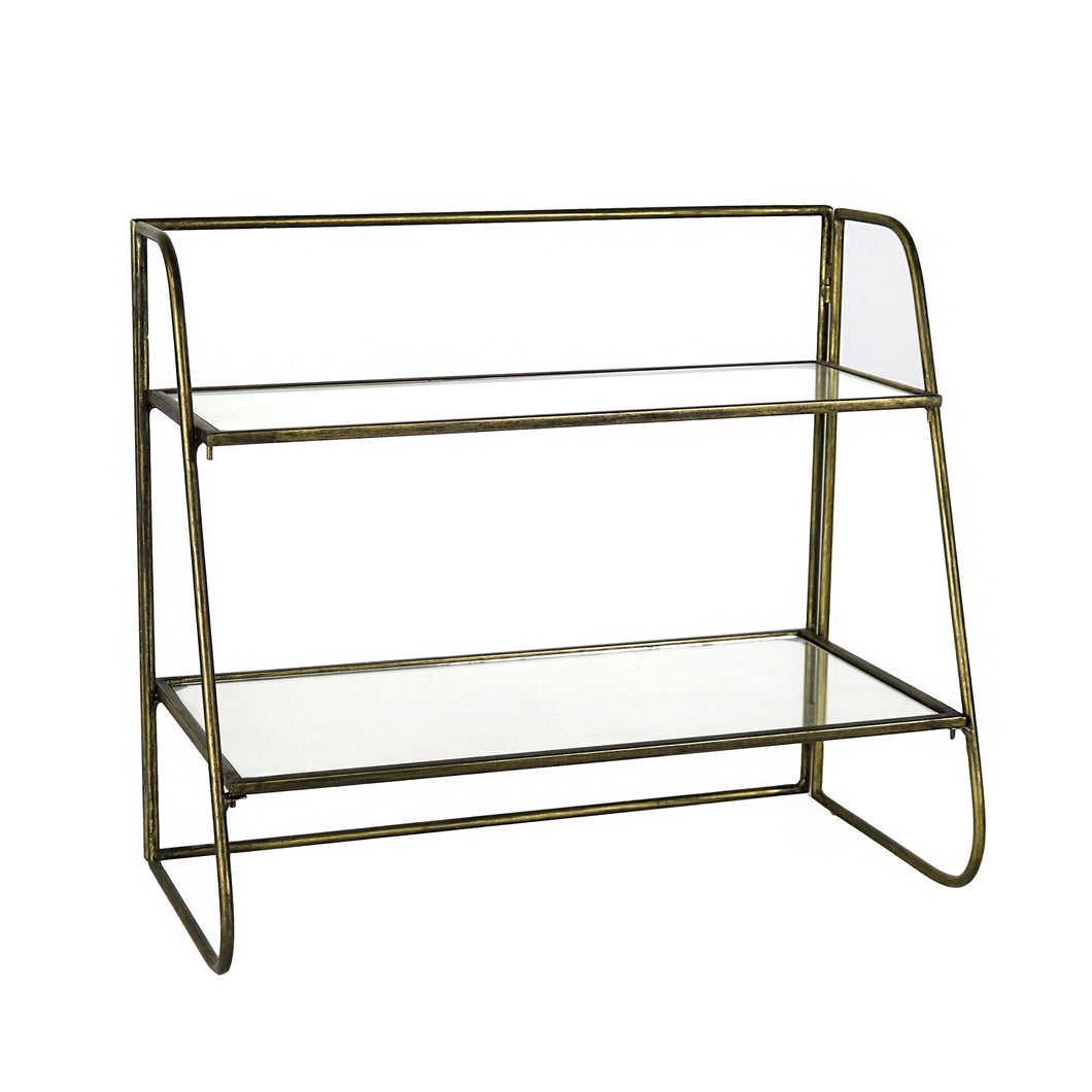 Lena Two-Tier Stand with Glass Shelves