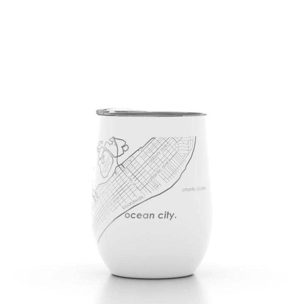 Ocean City New Jersey Map Insulated Wine Tumbler