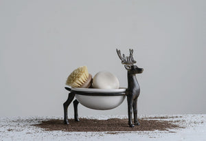 Cast Iron Reindeer with Ceramic Dish