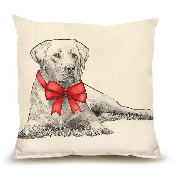 Yellow Lab with Ribbon Pillow