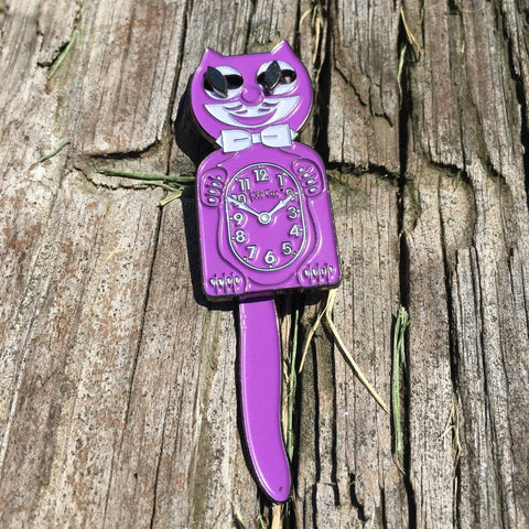 Moving Cat Clock Purple - | Enamel Pin