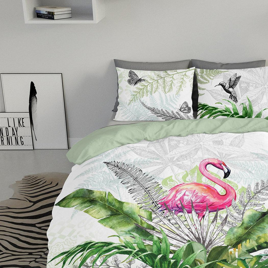 Dekbedovertrek met slopen - Flamingo In Jungle Wit Groen